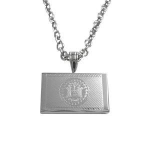 Silver Toned Etched Belize Flag Unisex Necklace
